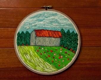 Barn Landscape Thread Painting