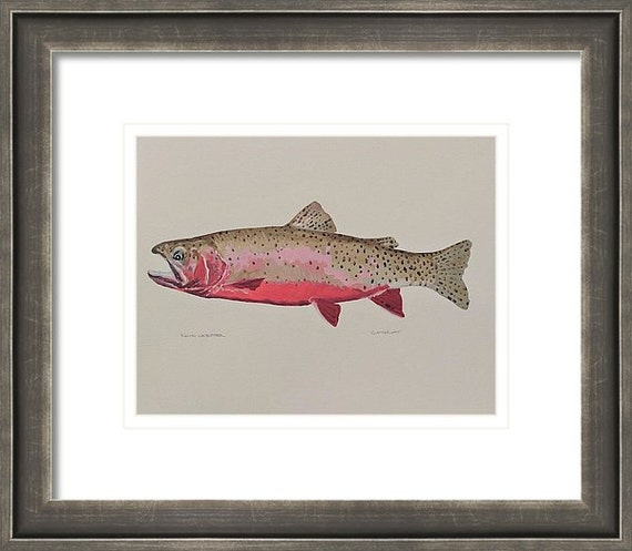 """CUTTHROAT TROUT - Original 11"""" x 14"""" Impressionistic Oil Painting on Paper"""