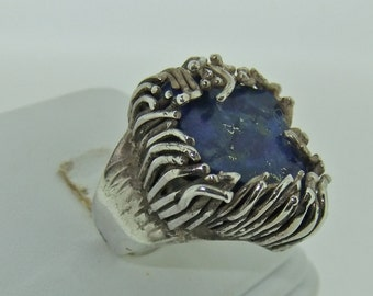Sterling silver and Lapis Lazuli modernist ring. Size 7