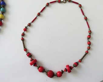 Red Glass 1930's era necklace