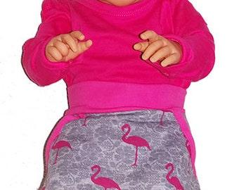 Skirt with flamingo print