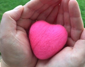 Valentines day. Felted Heart. Candy Pink. 6cm