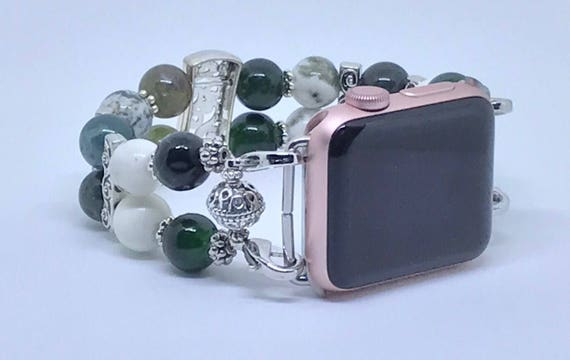 """Apple Watch Band Different Shades of Green & Cream Women Bead Bracelet Watch Band 38mm, 42mm Apple iWatch Wrist Sizes 7 3/4"""" To 8"""""""