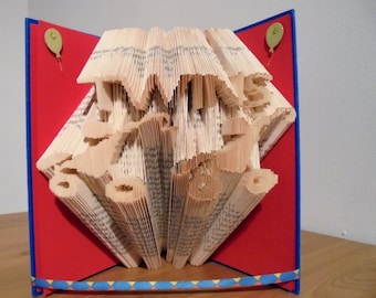 Folded book art gift of twins birth announcement