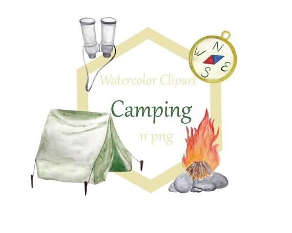 Watercolor Camping Clip Art Set Summer Outdoors Activities Digital Clipart Outdoor Campfire From KArtJu On Etsy Studio