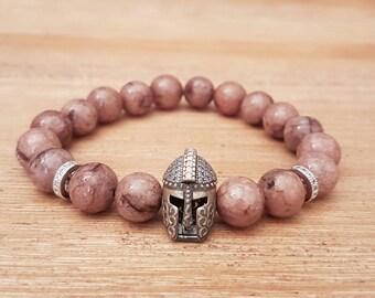 Bracelet female Gladiator-15, Agates beige old mottled pink.