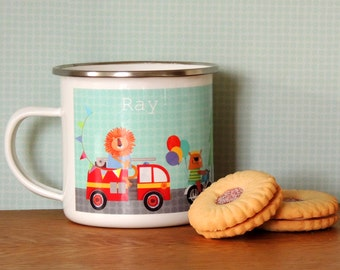 Personalised Transport Enamel Mug