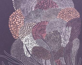 Art illustration, Coral print, Flower print, Drawing, Decor, Art Print