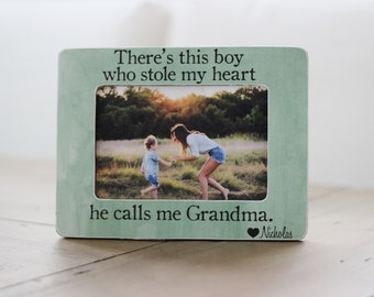 Grandma Gift Personalized Picture Frame Boy Who Stole My Heart Calls Me Grandma Quote Grandmother Gift