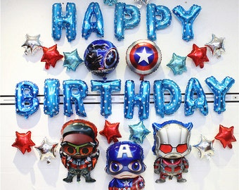Super heros party balloon decorations, Captain america birthday balloons, Happy birthday balloons, Ironman party decoration