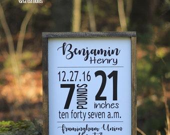 Birth Stat wood framed sign