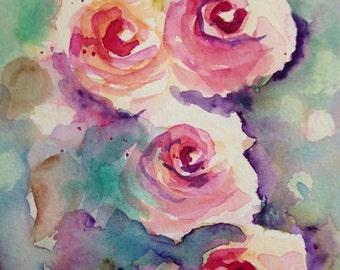 """Watercolour """"Roses"""", flowers, 17 x 24 cm, unique"""