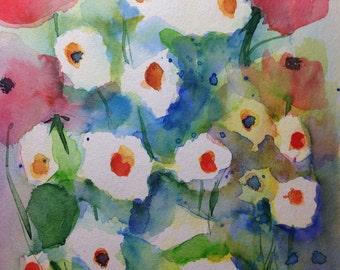 """""""Wild flowers"""" watercolor, flowers, 17 x 24 cm, unique"""