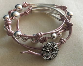 Pink leather beaded wrap bracelet