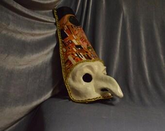 Mask - Pulcinella, Copy - The kiss by Klimt (papier-mache)