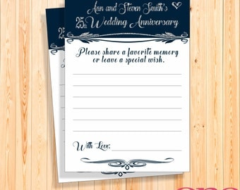 25th Wedding  anniversary memory card, Printable, Custom, Personalised silver navy glitter, Silver wedding party game, Dark blue party favor