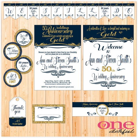 50th wedding anniversary printable custom package for 50th birthday decoration packages