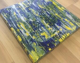 Royal Blue, Green & Canary Yellow Acrylic/Resin Canvas