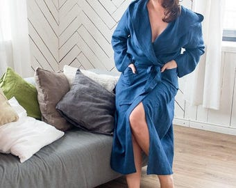 Blue linen robe, Linen dressing grown, Womens Robe with pockets, hood and belt, compfortable night robe.