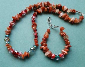 ON SALE:Red canelian agate chips lampwork glass  necklace + bracelet set