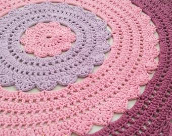 Round Crochet Rug, Handmade Rug, Doily rug, nursery rug, dorm decor
