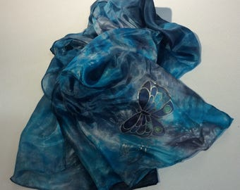Blue Silk Hand painted scarf Batik