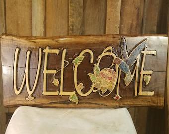 Custom Live Edge Hardwood Welcome Sign with Sea Glass Inlays
