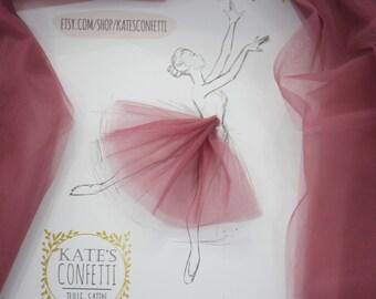 164 Plum Rose Soft Tulle Fabric for Tutus, Luxury Tulle Wedding Fabric, Tulle Material Wholesale, Tutu Fabric, Tutu Fabric - 3m width