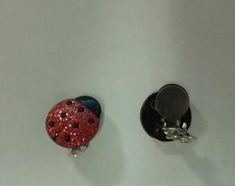 Lady Bug clip on earrings
