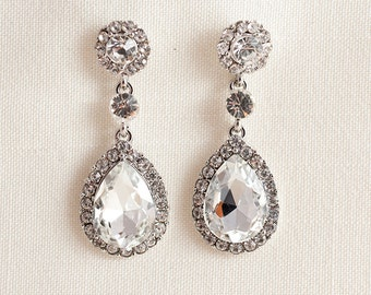 Swarovski crystal and Cubic Zirconia Silver plated Chandelier Wedding Bridal Earrings JSB10051ESilver