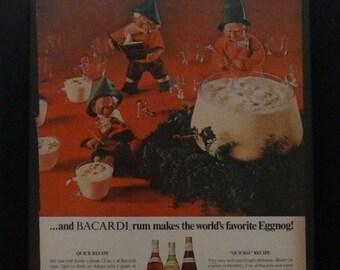 Bacardi Rum, Eggnog Time, Christmas Ad, Christmas Open House, Vintage Ad, Elves, Alcohol Ad, Vintage Christmas, Ephemera