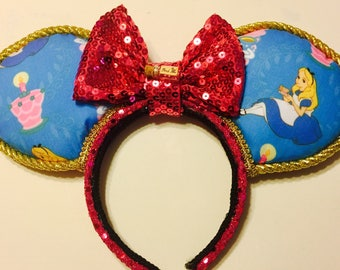 """Ready to Ship: Alice - """"A Very Merry Unbirthday"""" ears with Drink Me bottle"""