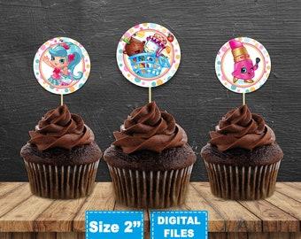 Shopkins cupcake topper, shopkins cake toppers, shopkins birthday, shopkins party, shopkins instant download, shopkins printable, digital