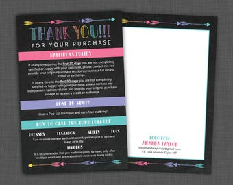 Happiness Policy - Lularoe Thank You Card - Lularoe Care Card with Thank You Note - PERSONALIZED