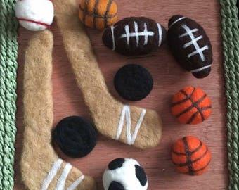 Felted Sports Plushies Newborn Photography Prop Bundle