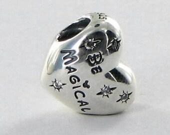 "Pandora ""Disney Be Magical"" CZ High Fashion Genuine Designer Sterling Silver Bracelet Charm/Bead Free Velvet Pouch Bag"
