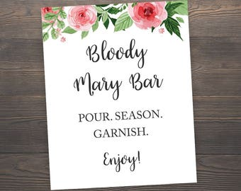 Bloody Mary Bar Sign, Printable Wedding Decor, 8x10 Bridal Shower Printable Sign, Wedding Drink Sign, Wedding Reception Bar Sign, J003