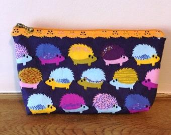 Hedgehog Print Fabric Makeup Bag