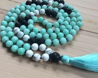 Hawaiian Beach Mala Necklace // Handknotted 108 Mala Beads // Yoga Mala // malay jade, white howlite, lava stones.