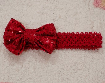 Red Bow headband bow headband baby headband sequin bow headband floppy bow headband newborn headband baby headband christmas headband