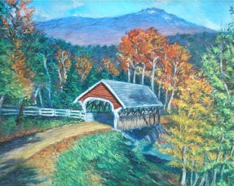 COVERED BRIDGE Landscape with Vivid Autumn Colors in 10 x 14 Original Pastel Painting by Sharon Weiss