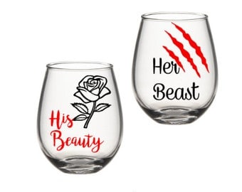 His And Her Wine Glasses, Beauty And The Beast Wine Glasses, His Beauty And Her Beast, His And Her Cups