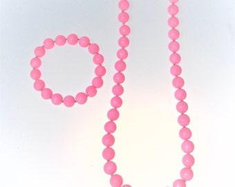 Pink Bubblegum Necklace and Bracelet Jewelry Set | Romantic Jewelry | Chunky Jewelry | Gift Jewelry | IYS Jewelry | Spring Summer Jewelry |