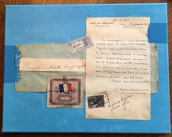 French Art Collage: Letter, banknote, stamps, paper Framed on Canvas