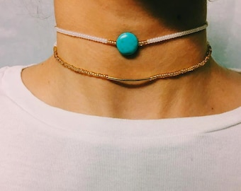 Turquoise Stone and Gold Bar Chokers