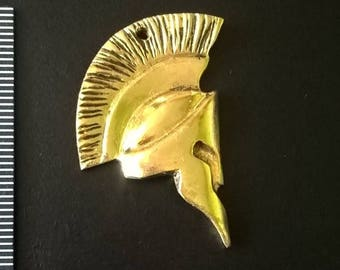 Hand Carved Solid Brass Spartan Helmet Pendant