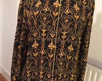 Vintage 80s silk blouse black & gold print