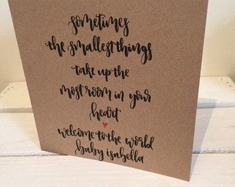 Personalised New Baby Card - Winnie the Pooh Quote, Welcome to the World