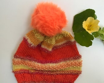 Winter Hat - Red with PomPom