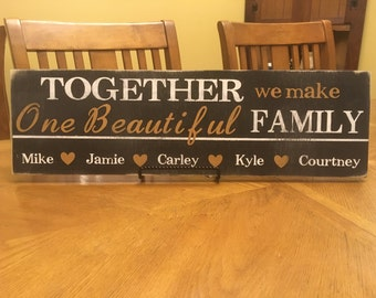 Family sign, blended family, welcome sign, personalized sign, customized sign, rustic sign,